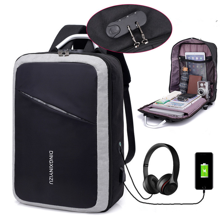 Fashion 16-Inch  Business  Laptop Backpack /USB Charging Port & Headphone Interface/ Anti-theft Bags grey one size