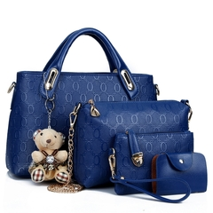 New Fshion Classic Fashion Women Luxury Handbag PU Leather blue as picture