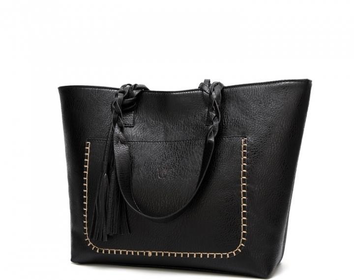 Fashion Leather Handbag    Tassel Accessories Bag black one size