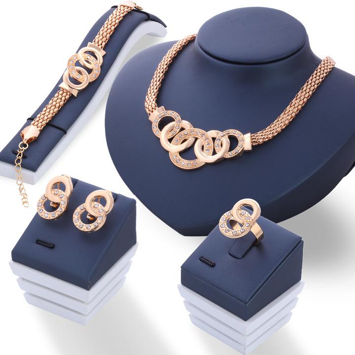5 Pcs/Set  Necklace Pendant Earring Studs Bracelet Wedding Rings Women  Jewellery Gold as picture