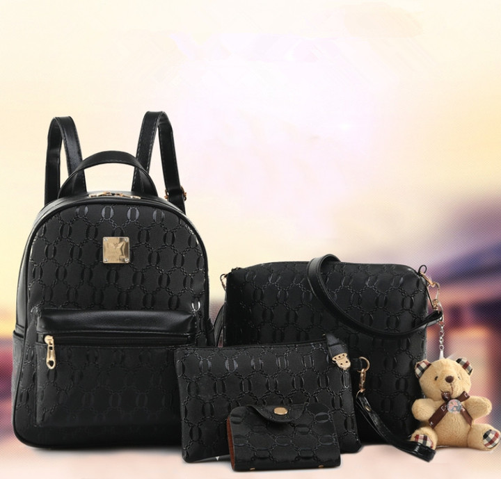 4Pcs/set  Backpack/ Handbags /Backpack + Shoulder Bag+ Wallet + Card bag/ PU Leather Bag black one size
