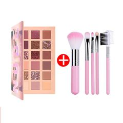Hot Sale 18 Colors Fashion Eyeshadow Palette Glitter Eyeshadow + 5 Makeup Brush As picture
