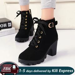 High Quality Lace-Up Ankle Boots Women Boots / Boots /Women'S Shoes /Ladies Shoes /Short Boot black 38