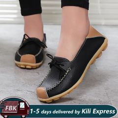 Soft Leather Loafers Shoes Slip Moccasins /Driving Shoes / Flats Shoes/ Women's Shoes /Ladies shoes Black 39