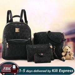 4Pcs/set  Backpack/ Handbags /Backpack + Shoulder Bag+ Wallet + Card bag/ PU Leather Bag black one size