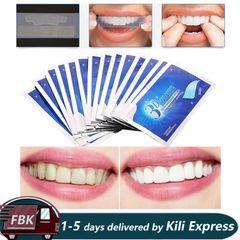 3D White Gel Teeth Whitening Strips Oral Hygiene Double Elastic Strips Whitening Dental Blue 14Pcs/7Pairs