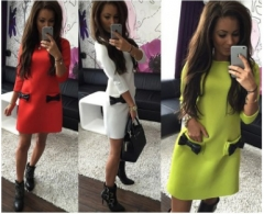 Women Bow Mini Dresses  New Straight Casual Dress Three Quarter Sleeves Solid Dress m black