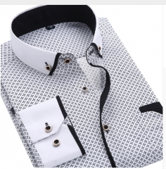 2018 Men's Fashion Casual Long Sleeve Print Shirt Slim Men's Social Business Shirt SH216 43