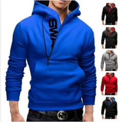 New Men's Turtleneck Sweater Coat Side-Zip Sweater Hooded Sweatshirt Men's Size red 4XL