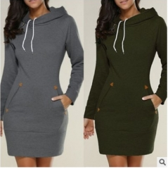 New Explosion Hooded Zipper Head Long Sweater Dress Women s Dark gray