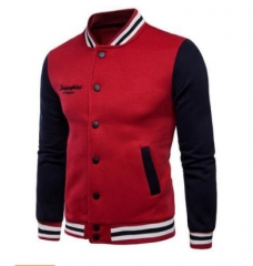 Hot men's collar hit color stitching sweater men's baseball uniform red l