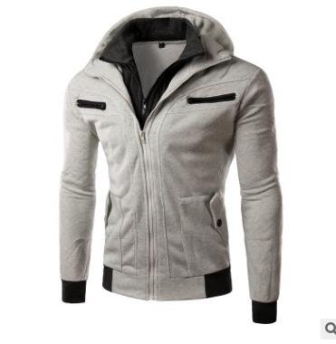 Casual men's chest double zipper hooded men's sweater black m