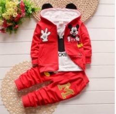 Children Spring and Autumn Three-piece Spring New Suit Pure Cotton Baby Spring Baby Clothing Set red 80