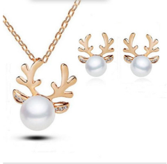 European and American explosions set diamond antler necklace Christmas earrings set Necklace gold one size