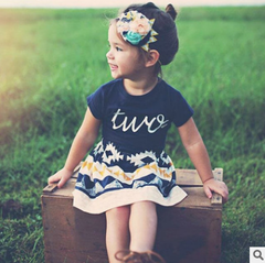 Girls' suits two letters love T-shirt + geometric pattern skirt two-piece suit pictured 100cm