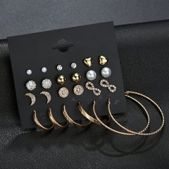 Pack of 12! Hot Style Graceful Beauty Stars Moon Ear stud Wire Ear Loop Combination jewelry gold&sliver B as picture