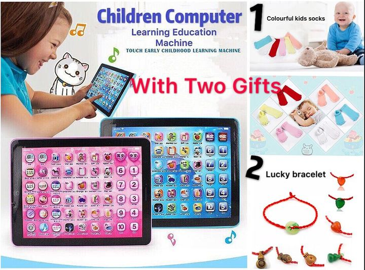 Kids' Tablet Children Computer Learning Education Machine Toy Gift With Two Gifts blue+2 gifts 18.7*24.2*2