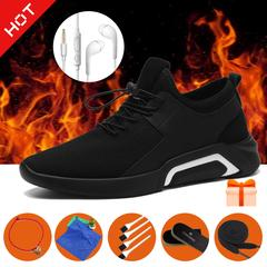 Hot-Men shoe autumn men's sports shoe Breathable Trendy British Casual Business Shoe with 6 gifts! black a 39