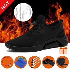 Hot-Men shoe autumn men's sports shoe Breathable Trendy British Casual Business Shoe with 6 gifts! black B 39