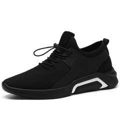HOT-Men shoe running men's sports shoe Breathable Trendy British Casual Business Shoe black a 40