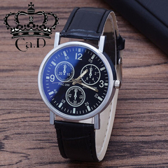 Ca.D Simple Style Men's Man business watch man quartz watch man watch glass belt SO fashion black as picture