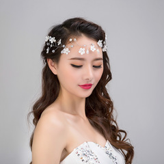 Ca.D Bride's handmade headdress lace flower headdress pearl wedding hair ornament accessories white as picture