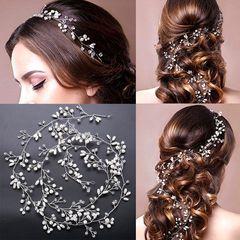 Ca.D Hot seller bride & banquet handmade pearl hair headpiece 50cm sliver simplified 50cm