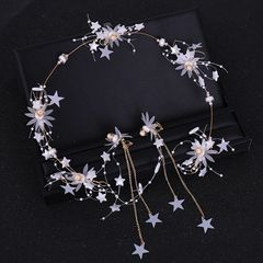 Ca.D Star hair band earrings set with glitter for banquet & wedding headband white star as picture