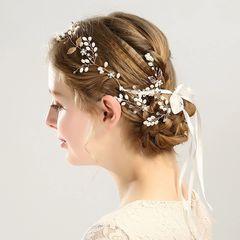 Ca.D Pearl leaf hair band handmade elegant hairpin hairband set wedding & banquet headband*1 as picture