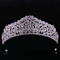 Ca.D Baroque alloy headband crown Classic design pearl bridal crown wedding accessories white K cambered surface19cm  altitude5cm