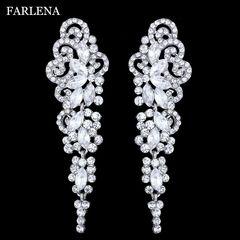Ca.D Ultra long white crystal diamond earrings for the bride's wedding dress earrings white k as picture