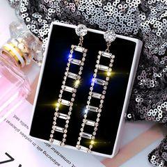 Ca.D Stylish flash diamond geometric earrings female Korean temperament long tassel earrings gold 8*0.9cm