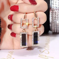 Ca.D S925 silver pin geometric earrings long style shiny diamond pendant personality S925 silver needle - hollow rectangle as picture