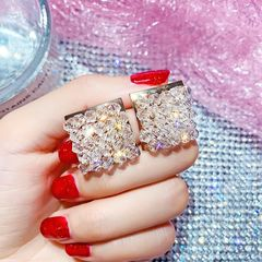 Ca.D Crystal braided square geometric element personality glitter earrings Square crystal as picture