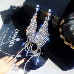 Ca.D 925 silver needle character rhinestone tassel earrings glitter alloy diamond Silver needle - glitter tassel as picture