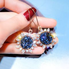 Ca.D Shiny colorful sunflower chic earrings chic hook Blue crystal sunflower as picture
