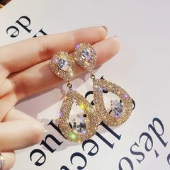 Ca.D S925 silver needle glitter drop alloy diamond earrings pendant banquet wedding silver needle-gold as picture