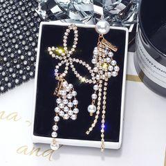 Ca.D Diamond-encrusted butterfly earrings asymmetric pearl glitter long tassel pendant golden butterfly asymmetric