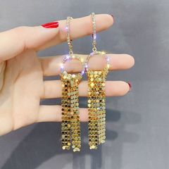 Ca.D 925 silver pin cool glitter earrings with metallic sequins and fashionable earrings pendant silver needle-gold as picture