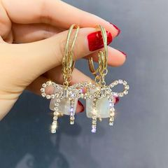 Ca.D 925 silver pin set with diamond bow earrings pearl circle glitter beautiful 925 sliver as picture