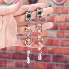 Ca.D Long tassel earrings with shiny white stone fashionable spiral design for wedding banquet pearl long