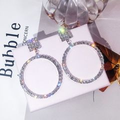 Ca.D Oversized hoop earrings glitter rhinestones fashion design wedding party steel needle-sliver as picture