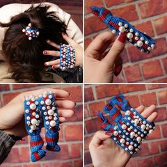 Ca.D Leopard print pearl hair cord new rubber band headband with high elasticity blue as picture
