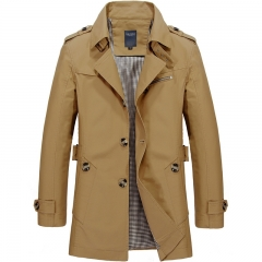 Men coat Jacket trench cotton leisure long fashion British style loose casual  business suit sweater khaki M