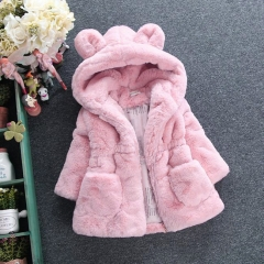 Girl's woolen sweater imitation fur cotton-padded jacket big ear thickening cotton jacket pink 90