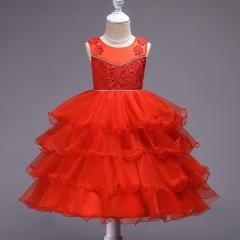 Middle-toddler flower girl princess dress solid color sleeveless dress cake skirt puffy skirt red 120