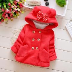 Girl baby autumn winter dress Korean version of girls' bodywear thickened coat red 70