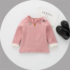 Girl's winter bottom shirt girl's autumn coat bottom skirt long-sleeved T-shirt pink l