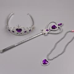 Princess Frozen girls Jewelry set Crown +Wand+necklace purple girl