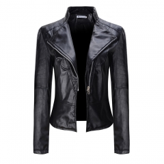 Fashion hot plus size women's pu leather jackets and coats black S